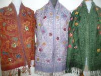 Bestickte Schals in boiled wool klein - 3 Farben