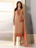 Elegantes Salwar Kameez aus besticktem Georgette rosenholz