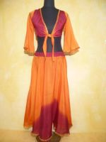 Bauchtanzkostüm Farita 2-teilig orange-weinrot - B-Ware