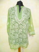 Handbestickte Tunika Georgette hellgrün