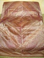 Lagerräumung - Tagesdecke aus Organza-Brokat hellbraun-kupfer