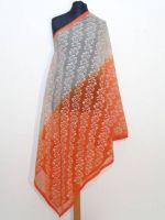 Dupatta Georgette orange-weiss mit all-over-Stickerei