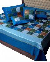 Tagesdecke Patchwork blau