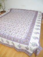 Tagesdecke Baumwolle mit Etno-Print weiss-flieder