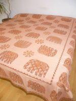 Baumwoll-Decke Elefanten lachs-braun
