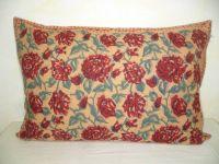 Kissenbezug 40x60 Blumenprint beige-rot