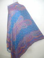 Viskose-Stola Jamawar blau I