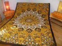 Tagesdecke Mandala gelb-schwarz-weiss