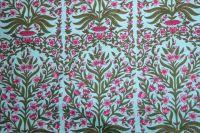 Baumwollstoff Jaipur türkis mit grün und pink