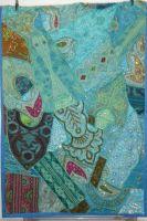 Wandbehang Patchwork türkisgrün