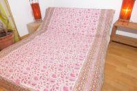 NEU! Baumwolldecke Blockprint creme-rosa-hellgrün II - S