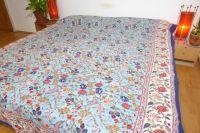 Quilt Blockprint zweiseitig türkis-naturweiss